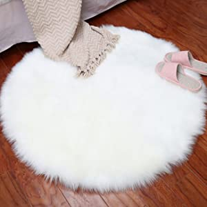 THEE Round Sheepskin Rug Chair Cover Floor Mat Area Rugs