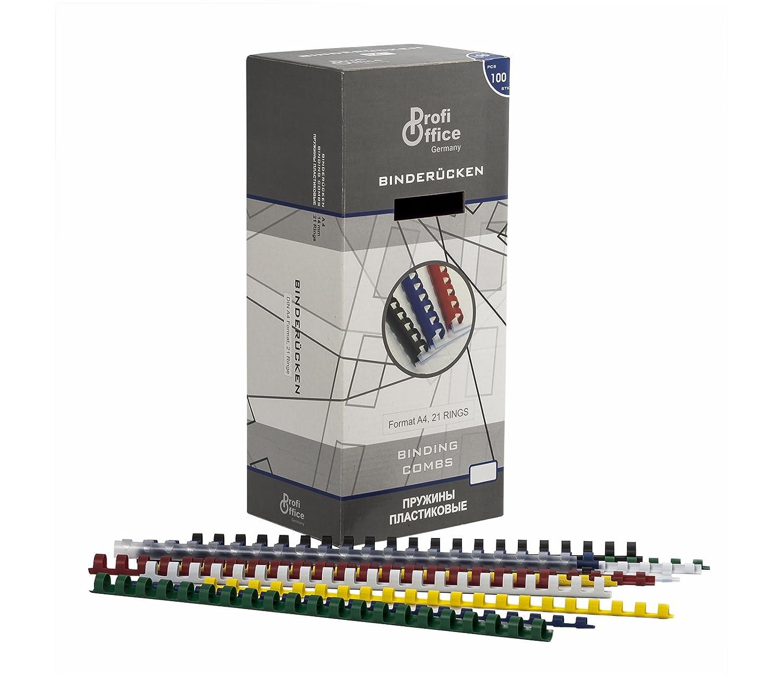 100 St/ück ProfiOffice/® Plastikbinder/ücken gelb 21 Ringe 60946 14mm