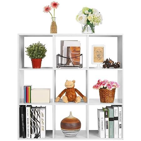HOMFA 9 Cube Display Cabinet 3 Tier Bookcase Storage Cube Closet Display  Organizer Shelf 91.5 X