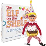"The Elf on the Shelf A Birthday Tradition Official Kids Story Book Complete Set of 10"" Festive Boy Elf Plush Doll Toy plus Clothes/Accessories Kit Cupcake Suit and Party Hat Outfit in Presentation Box"