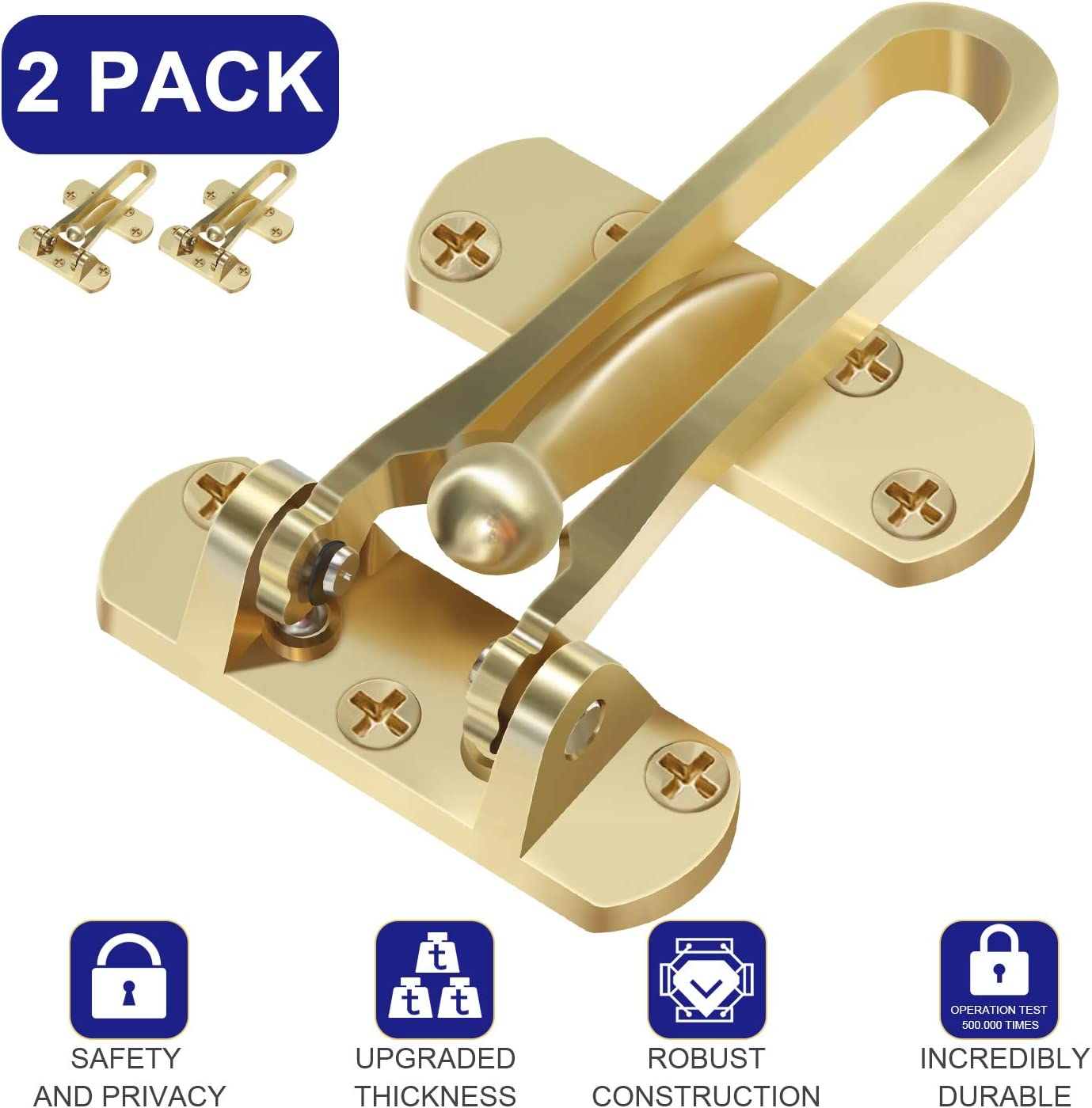Pakesi Home Security Door Lock, Door Reinforcement Lock, Portable Hotel Door lockfor Swing-in Doors, Thicken Solid Aluminium Alloy, Satin Nickel- Gold 2 Pack