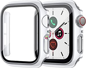 ZEBRE Hard PC Case Compatible with Apple Watch Series 6/5/4/SE 40mm, Built-in Tempered Glass Case, Silver Edge White Bumper Full Defense Coverage HD Clear Protective Screen Protector, White/Silver