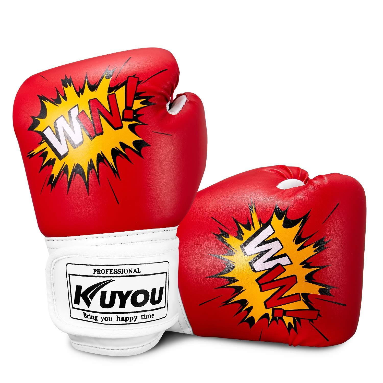 Kuyou - Guantes de Boxeo para niños de 4 oz, con Dibujos Animados y Guantes de Boxeo, de Piel sintética, para niños de 5 a 12 años, Azul kidgloves