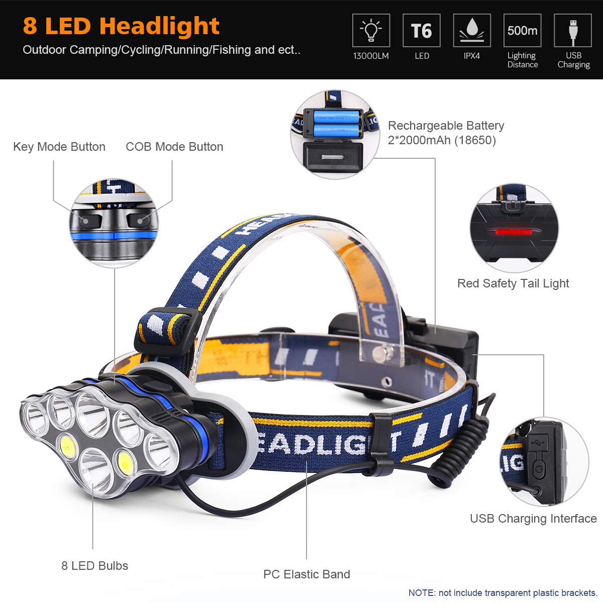 MOSFiATA Rechargeable Headlamp Flashlight, Xtreme Bright head lamp 13000 Lumen Headlights IPX4 Waterproof Headlamps for Adults Camping Fishing Hunting Running Jogging Hiking Cycling with Red Light