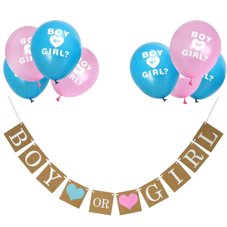 Boy o Girl Bandierine e Rivelano Genere Palloncini Set per Bambino Doccia Sesso Rivelano Annuncio di Gravidanza Festa
