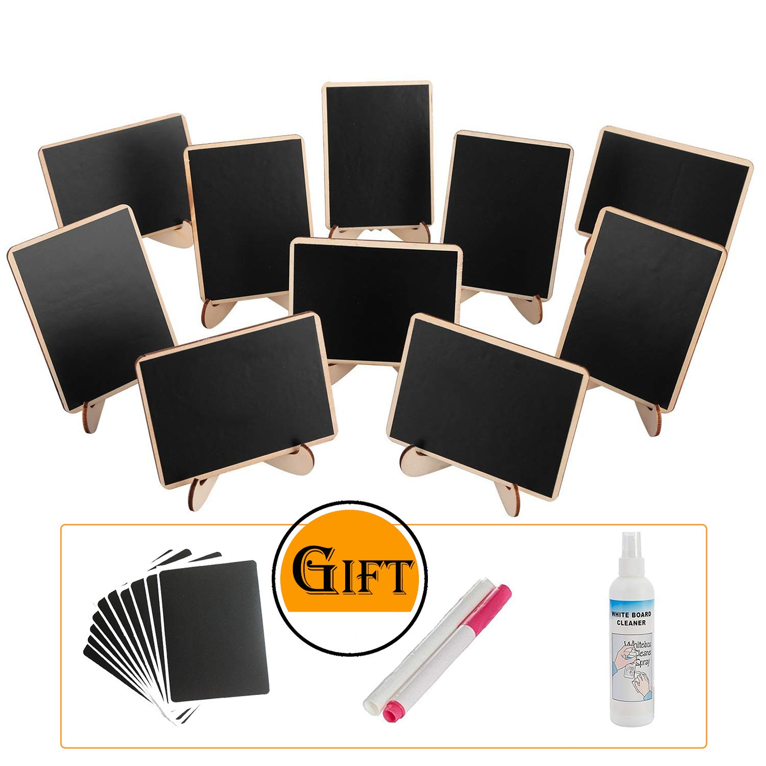 officematters Wood Mini Blackboard with Support Easel for Message Board Signs Parties, Rectangle, Set of 10