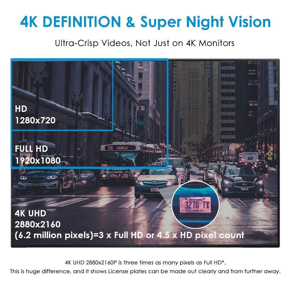 Cámara de Coche 4K 2160P con WIFI y GPS Dashcam Grabadora Ultra HD Dash Cam de Gran Ángulo 170° con G-sensor,Modo de Estacionamiento,Detección de Movimiento ...
