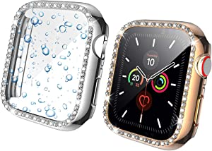Landhoo 2 Pack case for Apple Watch Series SE/6/5/4 40mm Screen Protector Accessories, Hard Bling PC HD PMMA Tempered Glassl Cover Protective Bumper Frame for iWatch Series 4/5.(Silver+Rose Gold
