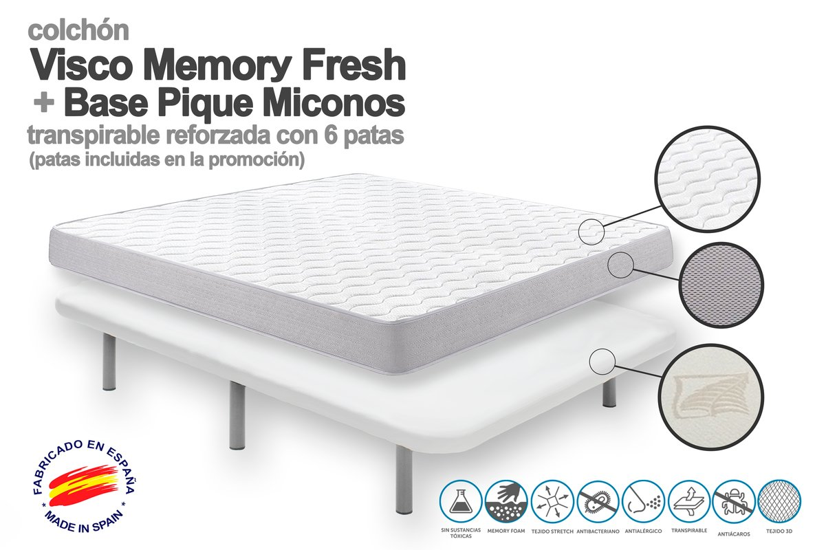 90 x 190 - COLCHON VISCOELASTICO Memory Fresh + Base TAPIZADA Pique MICONOS Transpirable+ 6 Patas METALICAS.: Amazon.es: Hogar