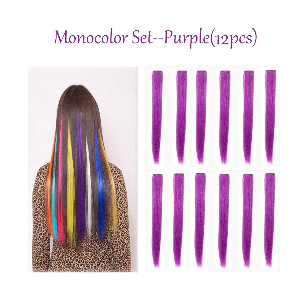 Hawkko 12PCS Straight Colored Party Highlight Clip on in Hair Extensions Multiple Colors (12pcs Teal Blue) HawkkoDirect