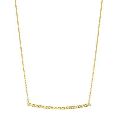 3a4747613 Image Unavailable. Image not available for. Color: Kooljewelry 10k Yellow  Gold Bar Necklace ...