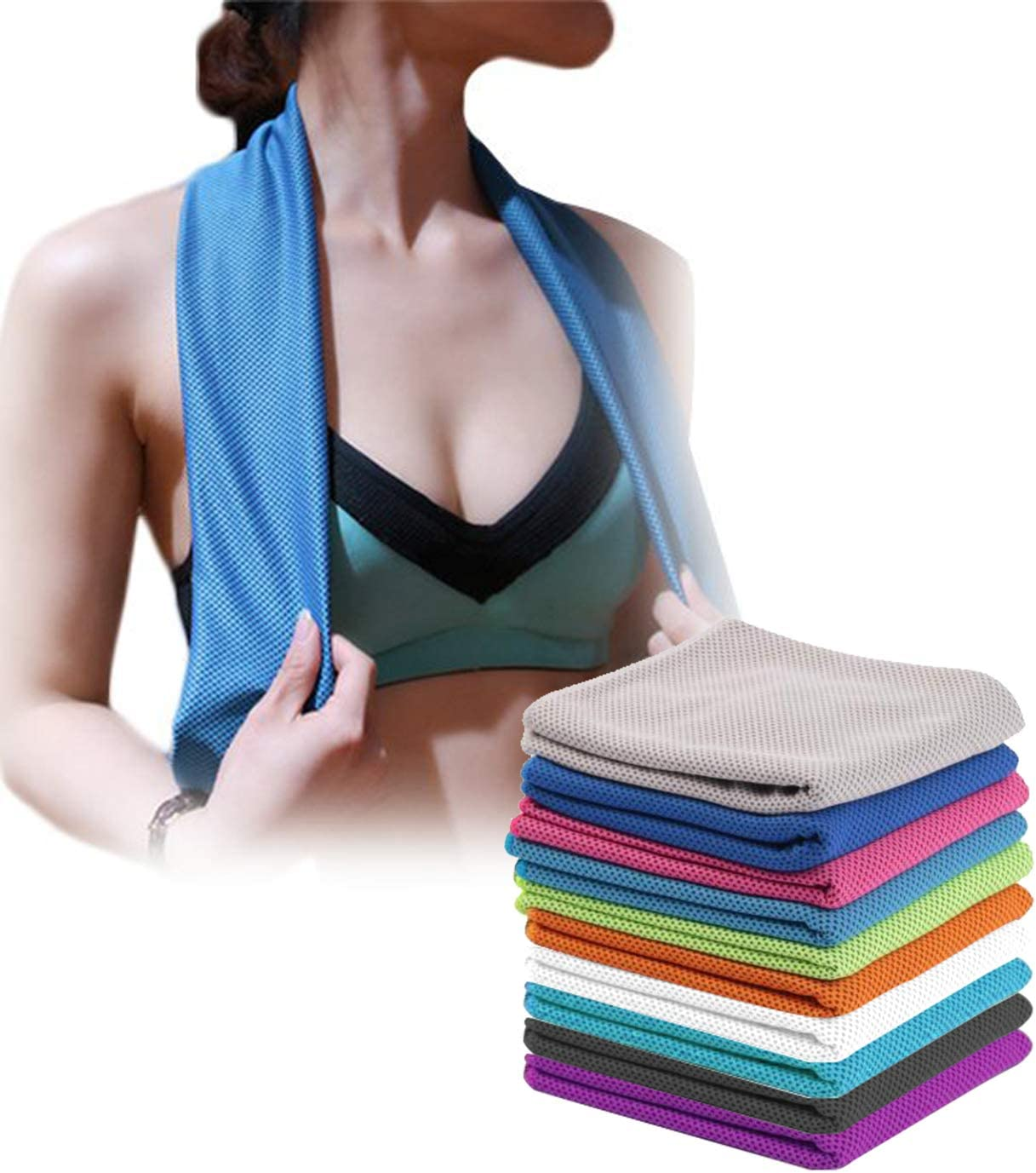 U-pick 4 Packs Cooling Towel 40x 12 Ice Towel,Microfiber Towel,Soft Breathable Chilly Towel for Yoga,Sport,Gym,Workout,Camping,Fitness,Running,Workout/&More Activities