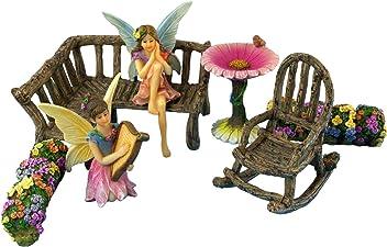 Pretmanns Fairy Garden Fairies – Miniature Accessories & Furniture – 7 Pieces – Fairy Garden Supplies