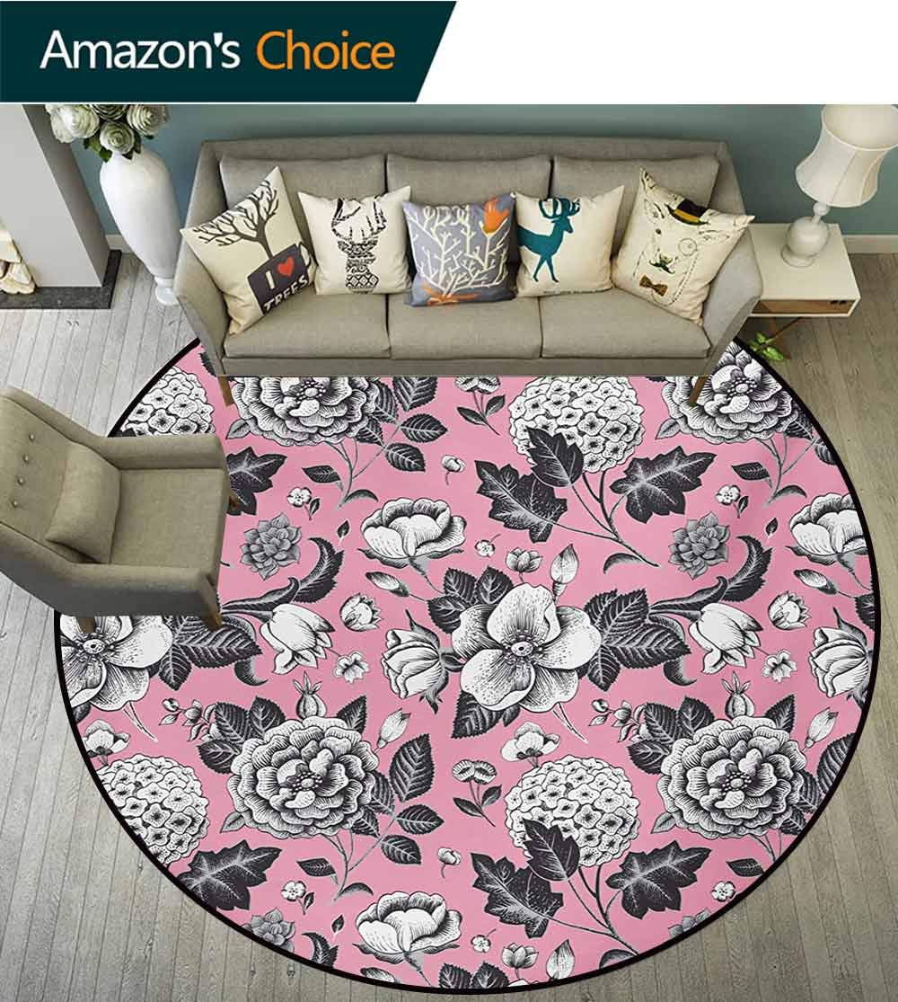 Floral Computer Chair Floor Mat,Vintage Big Garden Flowers With Leaves Tulips Buds Artwork Sketchy Image Printed Round Carpet For Children Bedroom Play Tent,Round-31 Inch Coral Black And White