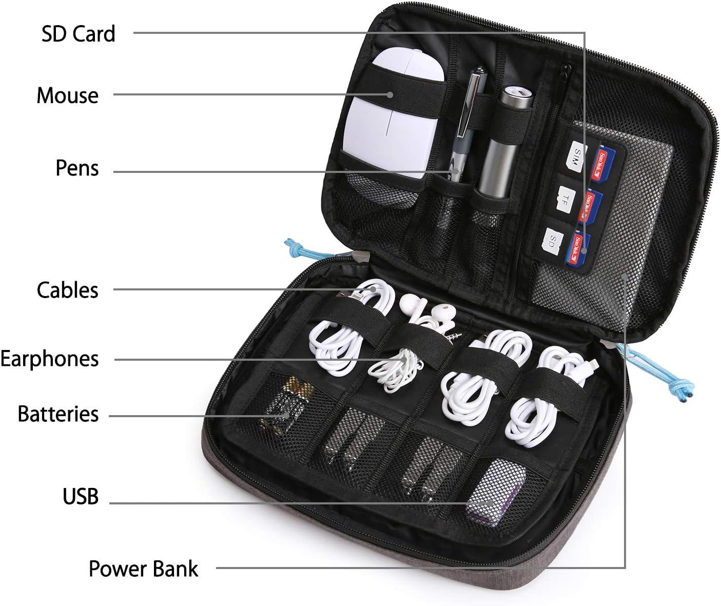 Festplatte USB Sticks Kabel bagsmart Elektronik Tasche Organizer Reise Tasche Elektronische Tasche Doppelschichte f/ür Handy Ladekabel SD Karten Hellblau
