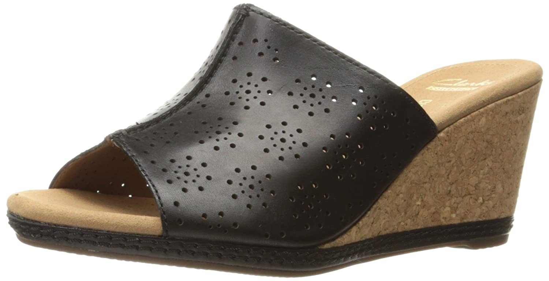 Clarks Womens Helio Corridor Wedge Sandal Nude Leather Size 80