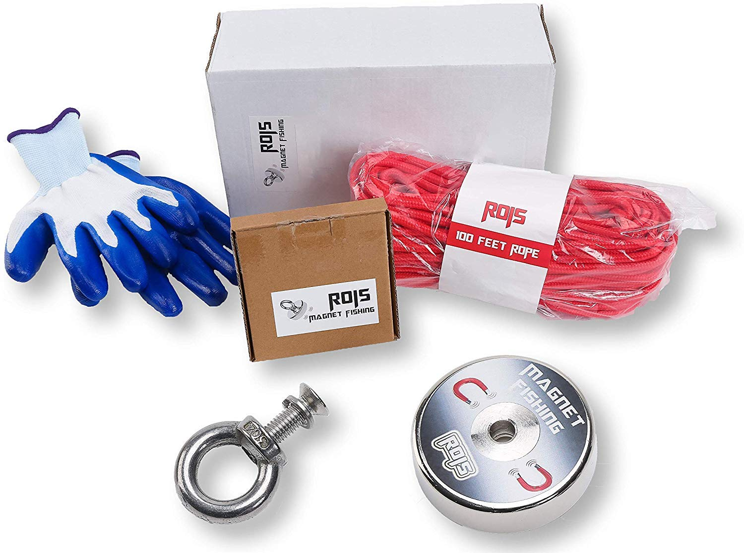 Super Powerful Magnet Fishing with Diameter 2.36' and Maximum Pulling Force of 380lbs Including 100 feet Rope and Protection Gloves by ROIS-SHOP