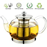 Toyo Hofu Clear Borosilicate Glass teapot with Strainer Coffee pot Stylish Tea Pot with Stainless Steel Infuser , Heat Resistant 1200ml /40 Oz