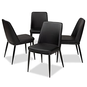 Brilliant Amazon Com Curved Back Dining Chair In Black Set Of 4 Machost Co Dining Chair Design Ideas Machostcouk