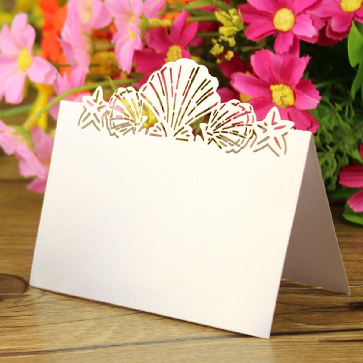 Amazon.com: 50 Pack Beach Themed Wedding Place Card Laser Cut Sea ...