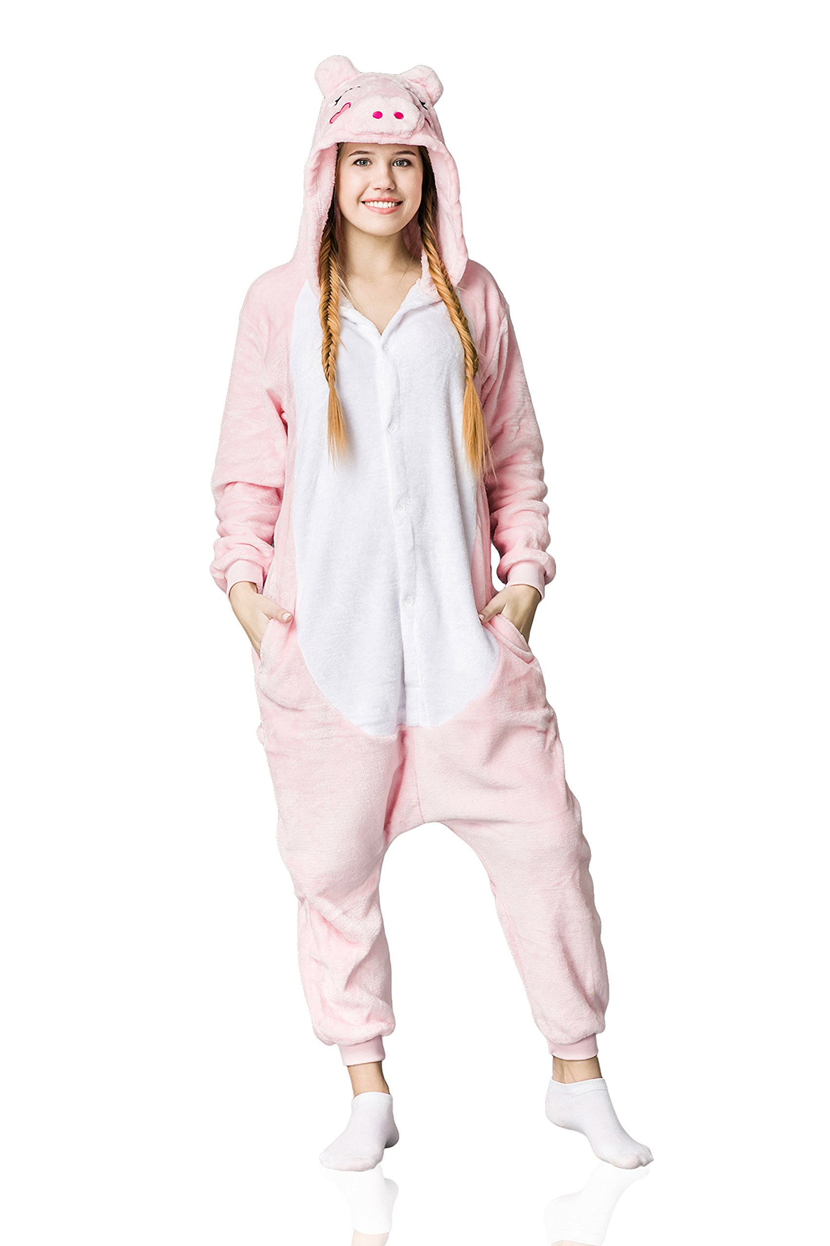 Nothing But Love Adult Piglet Onesie Pajamas Pig Kigurumi Animal Cosplay Costume Onsie Fleece Pjs (M, Pink, White)