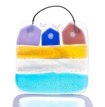 Diseño de casetas de playa fused cristal art Light-restos de papel y no cuadrado - mano-fabricado en East Sussex, England: Amazon.es: Hogar
