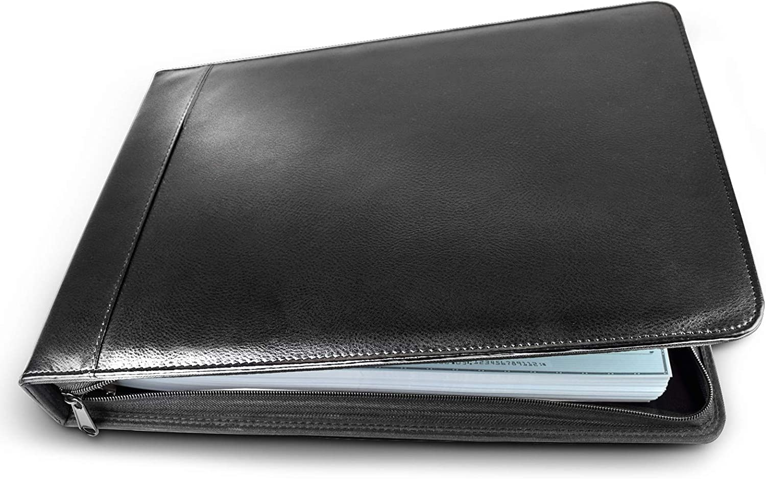 Executive Business Check Binder PU Leather 7 Ring Checkbook Cover (3 Checks on a Page) with Zipper