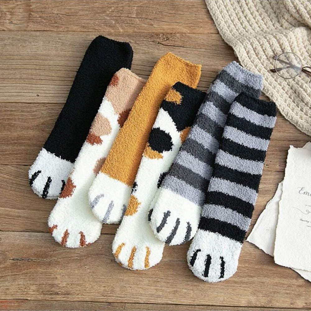 ZHniby Chaussettes chaudes de plancher de sommeil chaussette de plancher de belle maison dhiver 6pair // set chaussette mignonne de long tube douatine de corail chaussettes de griffes de chat