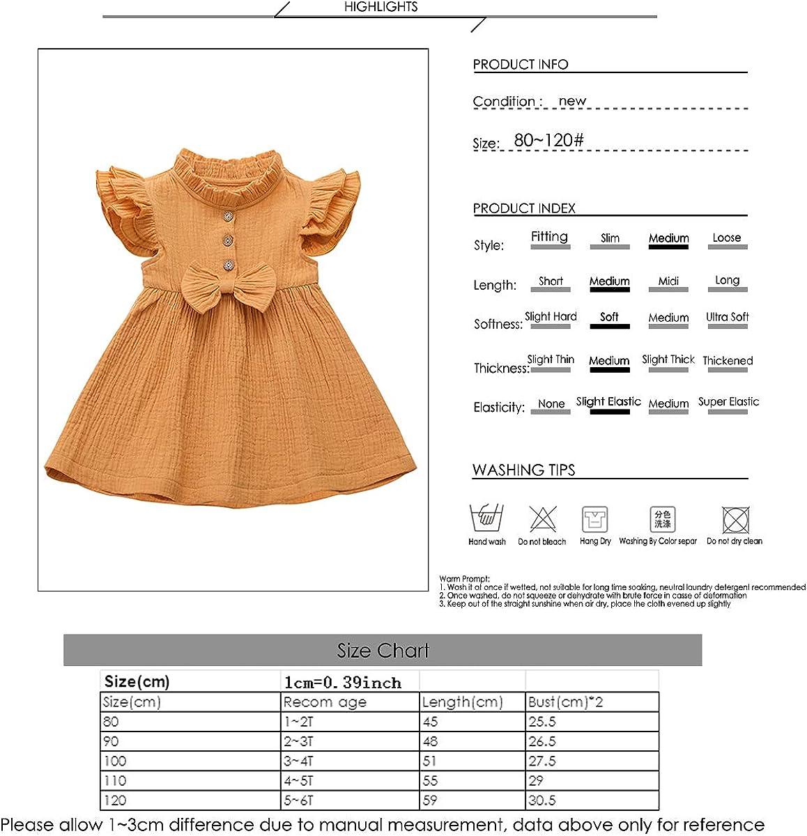 Borlai 1-6 Jahre M/ädchen Kleid mit Bowknot niedlichen /ärmellosen gekr/äuselten Partykleid Sommerkleid