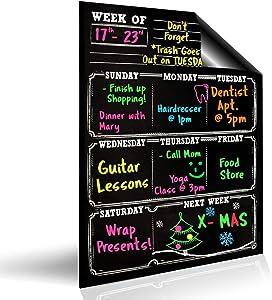 Bigtime Dry Erase Magnetic Weekly Calendar Planner , Black Flexible Chalkboard Style Magnet Board for Refrigerator