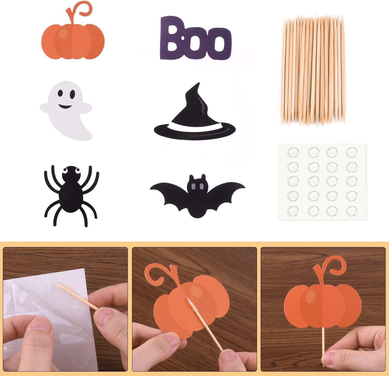 TUPARKA 54 Unids Halloween Cupcake Toppers Envoltorios Halloween Spider Pumpkin Ghost Mano Pastel Decoraciones Suministros