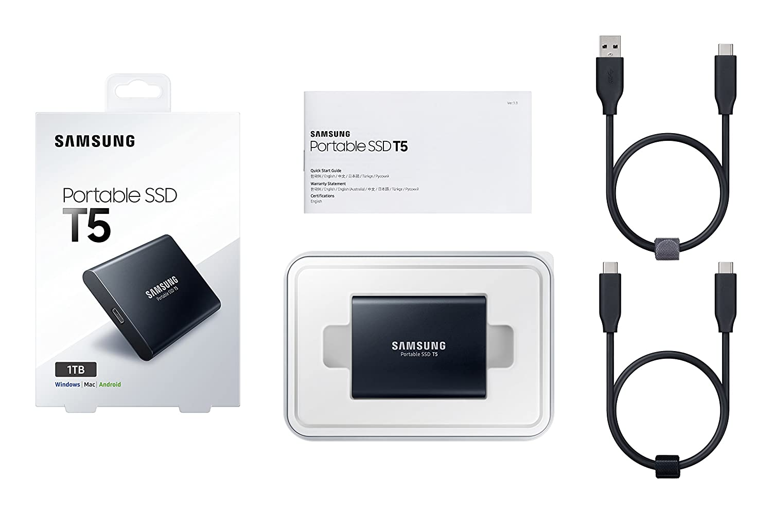 Samsung T5 Portable SSD - 1TB - USB 3 1 External SSD (MU-PA1T0B/AM), Black