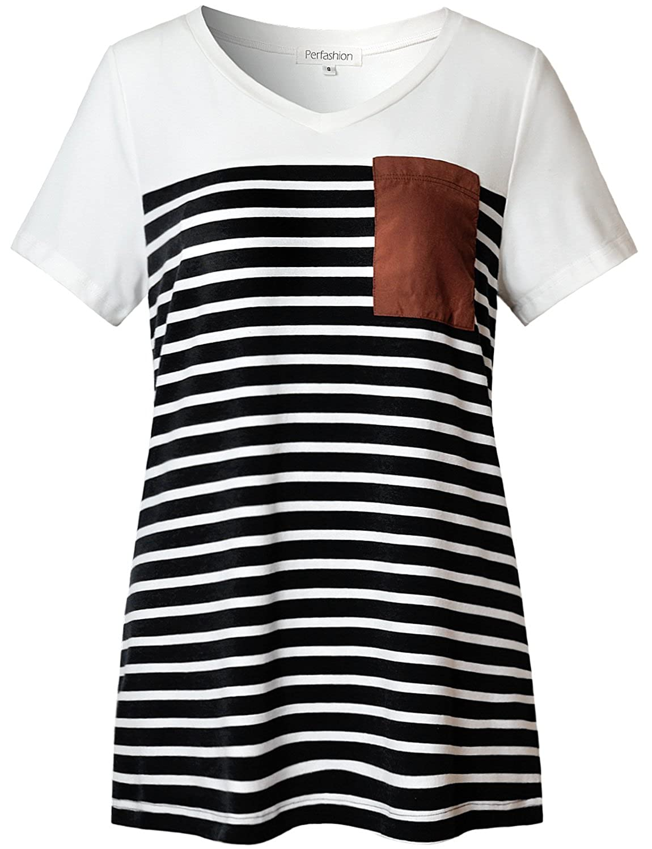Black Perfashion Women's Casual Short Sleeve VNeck color Block TShirt Tops with Pocket