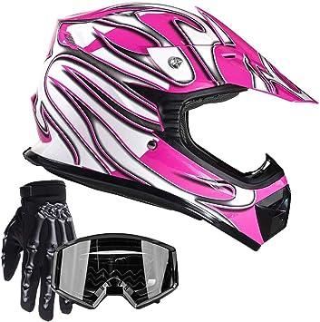 Black//Pink Motorcross Dirt Bike ATV Off Road Motorcycle Bike Helmet Racing DOT