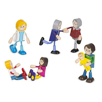 Melissa & Doug Wooden Flexible Figures – Caucasian Family: Toys & Games
