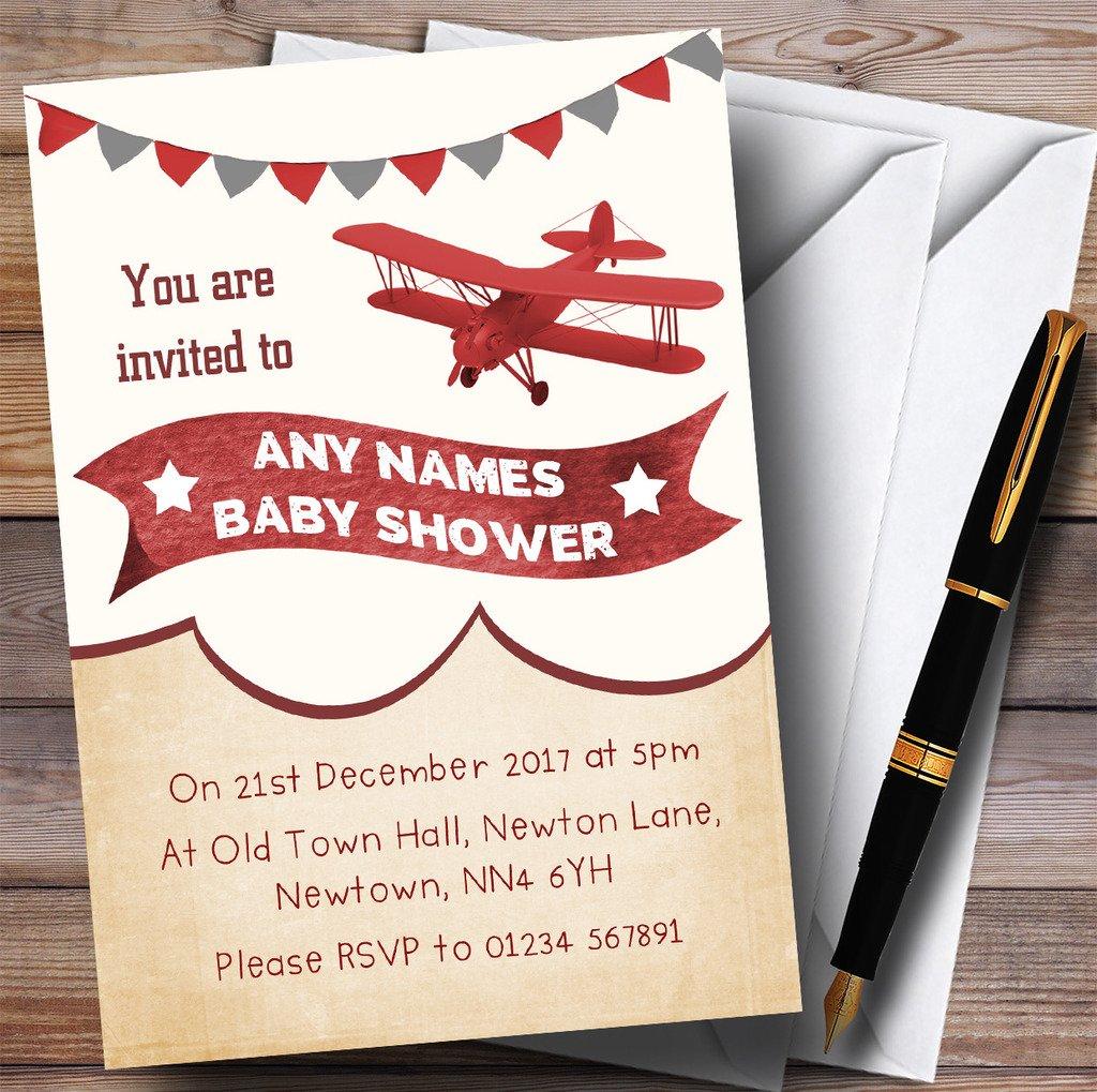 Amazon.com : Vintage Plane Cloud Invitations Baby Shower Invitations ...