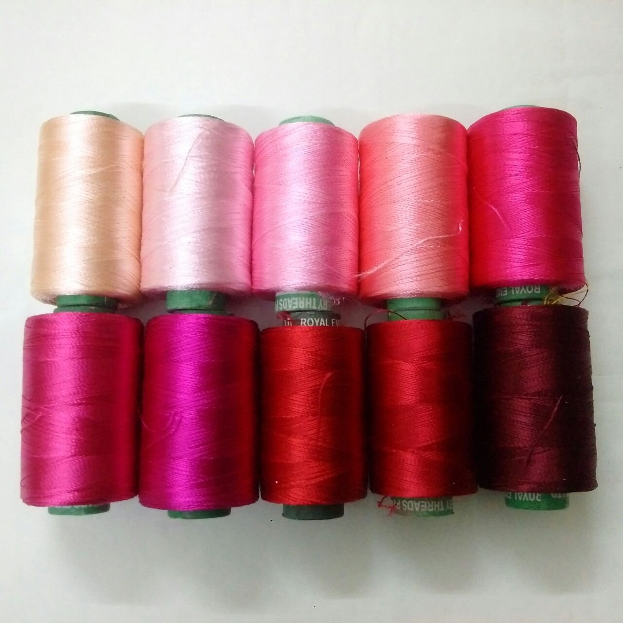 Pink - Set Lot of 10 Spools Tubes - 150/2 Denier Viscose Rayon Thread Yarn - Hand & Machine Embroidery Sewing Royal Embroidery Threads