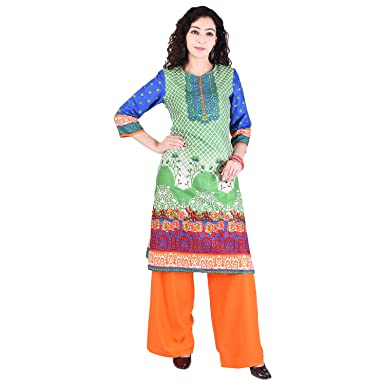 30204476e9 Indian Women's Cotton Suit,Indian Pakistani Women kurta,kurtiGaurangi  Indian Green Screen Printed Indo