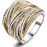 Mytys 2 Tone Intertwined Crossover Statement Ring Fashion Chunky Band Rings for Women Men Gold Silver Rose Gold Plated Wide Index Finger Rings Costume Jewelry