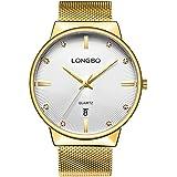 LONGBO Luxury Couple's Gold Metal Mesh Strap Analog Quartz Business Watch Auto Date Calendar Couple Dress Watch Waterproof Rhinestone Accented Dial Wristwatch For Lover