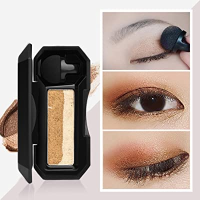 Sacow 2 Colors Eyeshadow, Shimmer 2 Colors Stamp Eyeshadow Palette Makeup Powder Flexibility Lasting Eye Shadow (D): Home & Kitchen