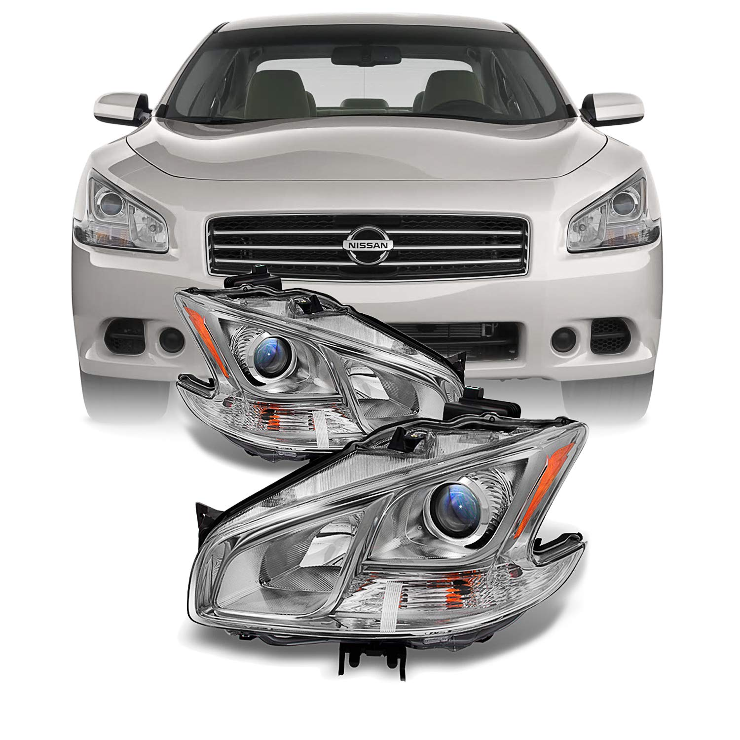 For Maxima 4Dr Sedan Projector Halogen Type Headlights Driver Left + Passenger Right Replacement