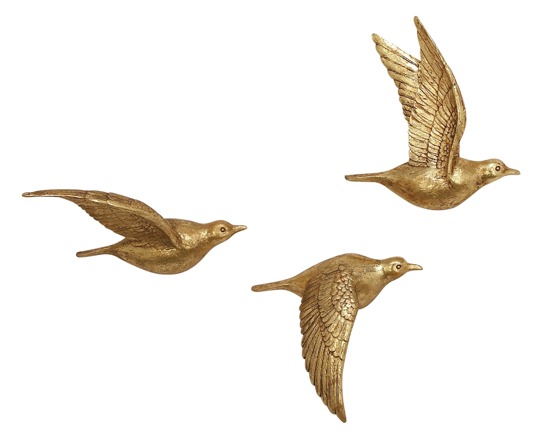 Benzara Antique Colonial Beautiful PS Bird Wall Decor Set of 3 11'',11'' and 10'' H Textured Gold Finish by Benzara
