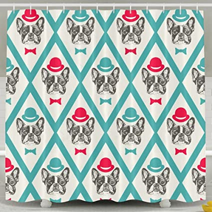 Amazon RmaUa French Bulldog Shower Curtain Waterproof Water