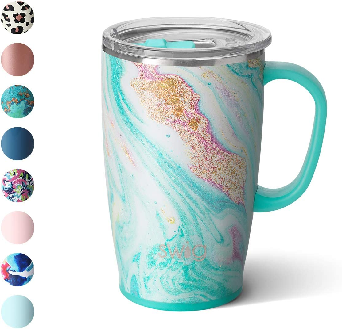 Swig Life 18oz Triple Insulated Travel Mug with Handle and Lid, Dishwasher Safe, Double Wall, and Vacuum Sealed Stainless Steel Coffee Mug in Wanderlust Print (Multiple Patterns Available)
