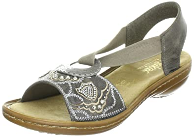 Women's Regina Sandals B 608b9 mUs 10 Rieker Smoke Leather cluF35TKJ1