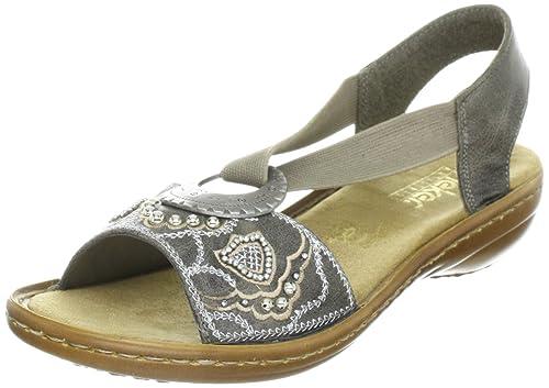 Rieker Women's Regina 608B9 Smoke Leather Sandals 10 B(M) US