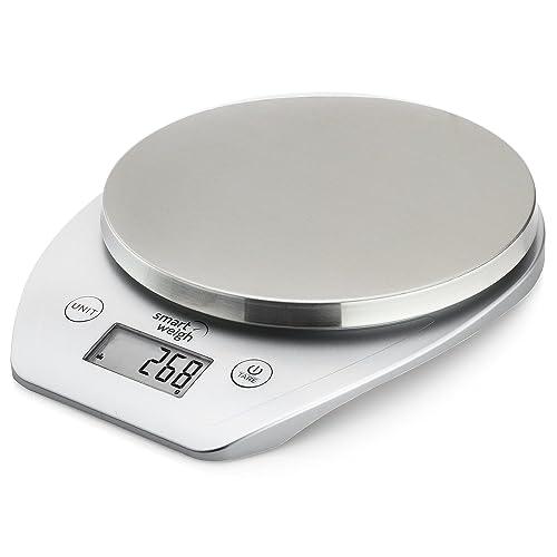 Smart Weigh Balance de Cuisine Electronique 5 kg Mode de Volume de Lait et d'Eau, Fonction Tare/Zéro, Piles Fournies, Argent