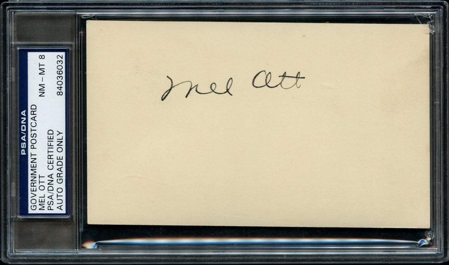Mel Ott Autographed Signed Government Postcard PSA/DNA Graded Nm Mt 8
