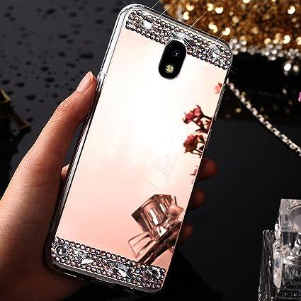 hot sales 0b91c 0e033 Galaxy J730 J7 Pro (2017) Case,ikasus Crystal Rhinestone Bling Diamond  Glitter Rubber Bumper Soft TPU Silicone Rubber Diamond Mirror Back Skins  Case ...